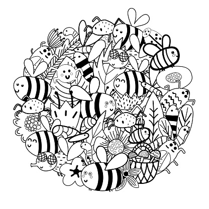 Cute bees in the flowers circle shape pattern. Funny insects coloring page. Black and white mandala print for coloring book