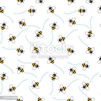 istock Cute Bees SeamlessPattern 1284614556