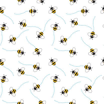 Cute Bees SeamlessPattern
