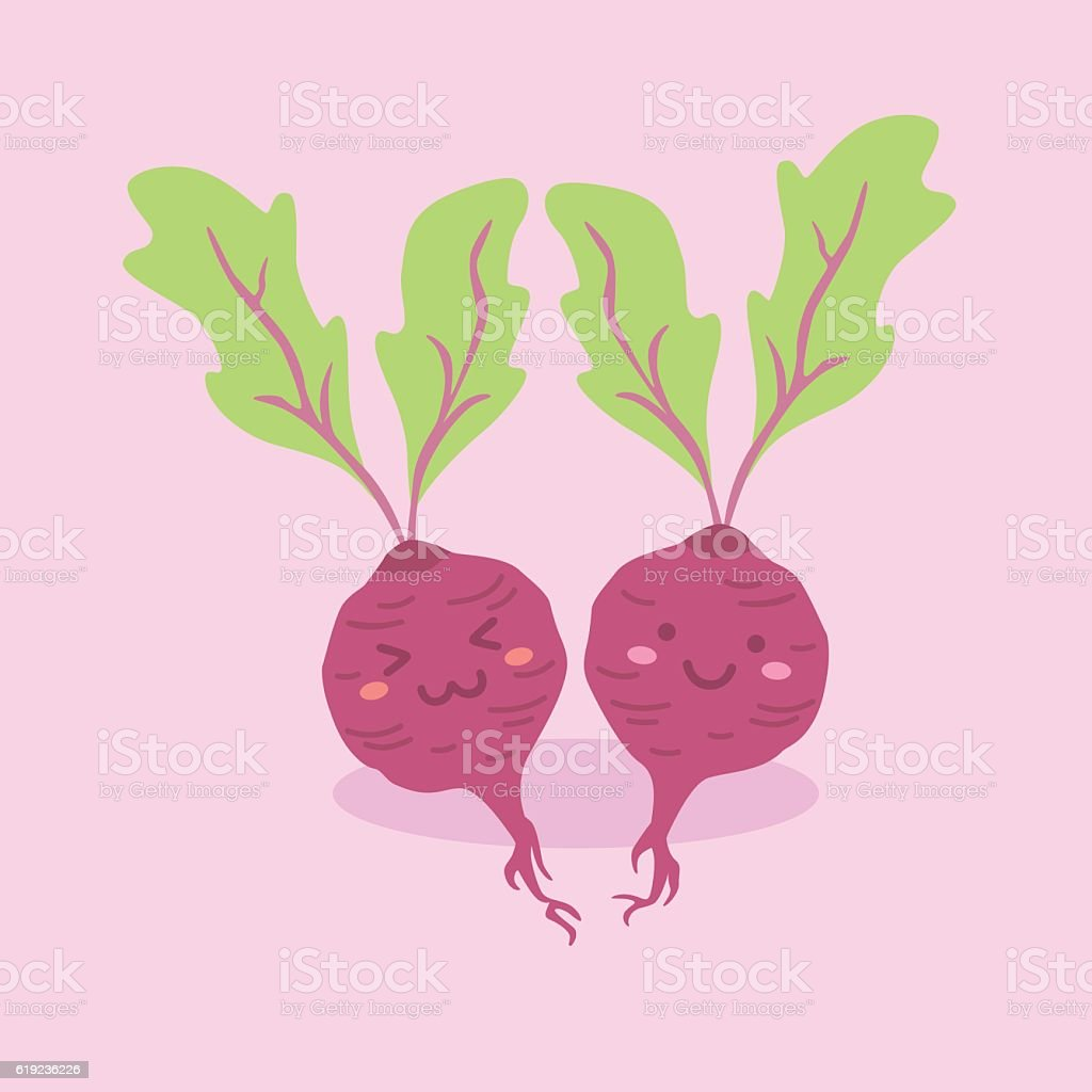 Cute Beetroot Vegetable Vector Character vector art illustration