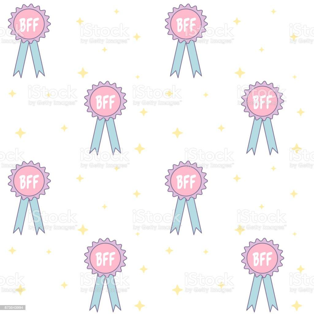 cute bff best friend forever medal cartoon seamless vector pattern background illustration vector art illustration