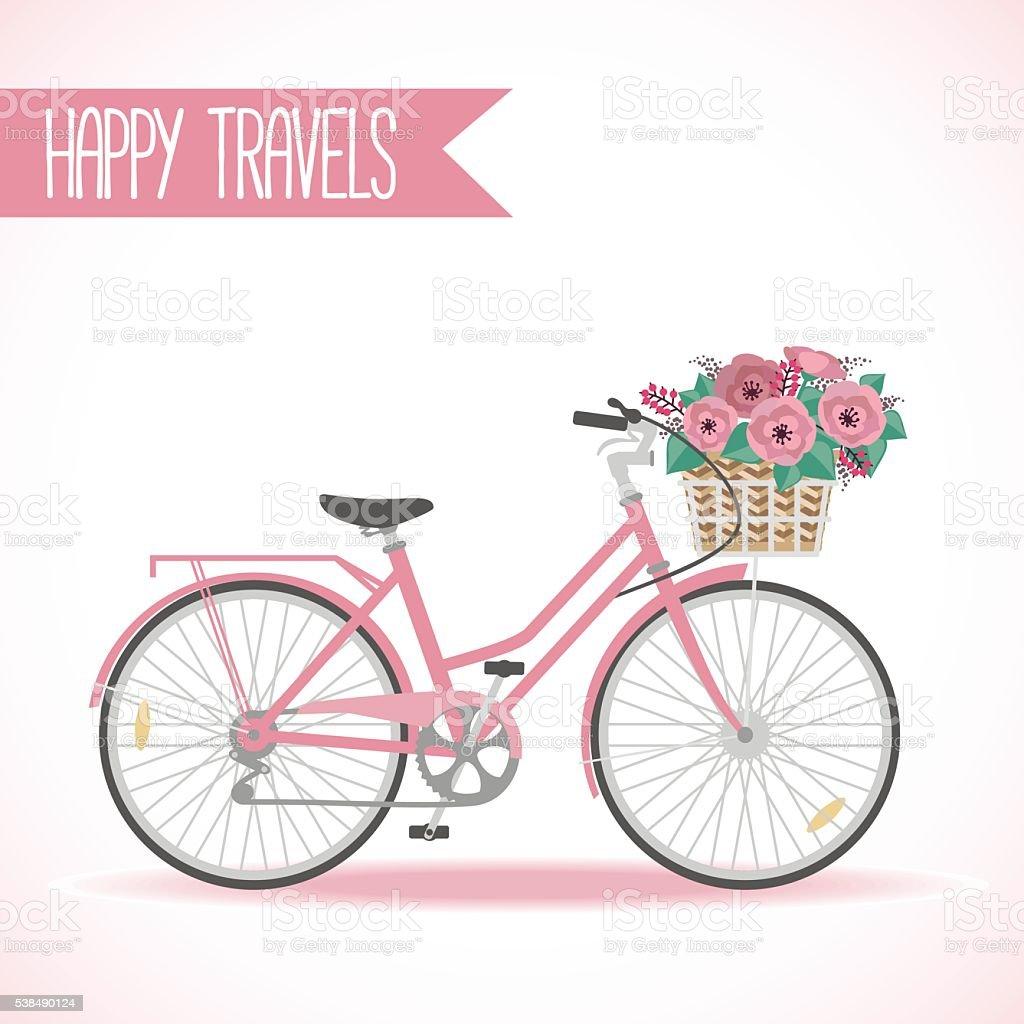 かわいい自転車とフラワーバスケットのフル イラストレーションの