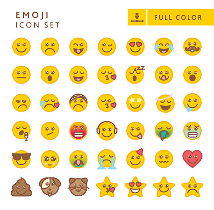 Cute big set of colorful Emoji faces with different expressions
