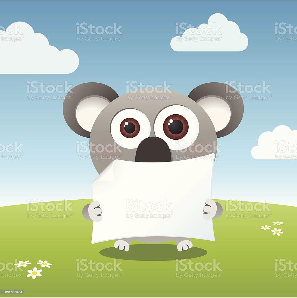 Cute big-eyed koala holding a blank paper royalty-free stock vector art