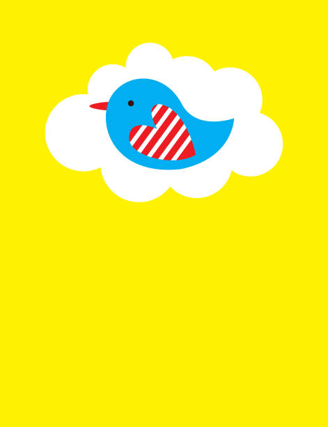 niedlichen Vogel Cartoon Karte Vektor – Vektorgrafik