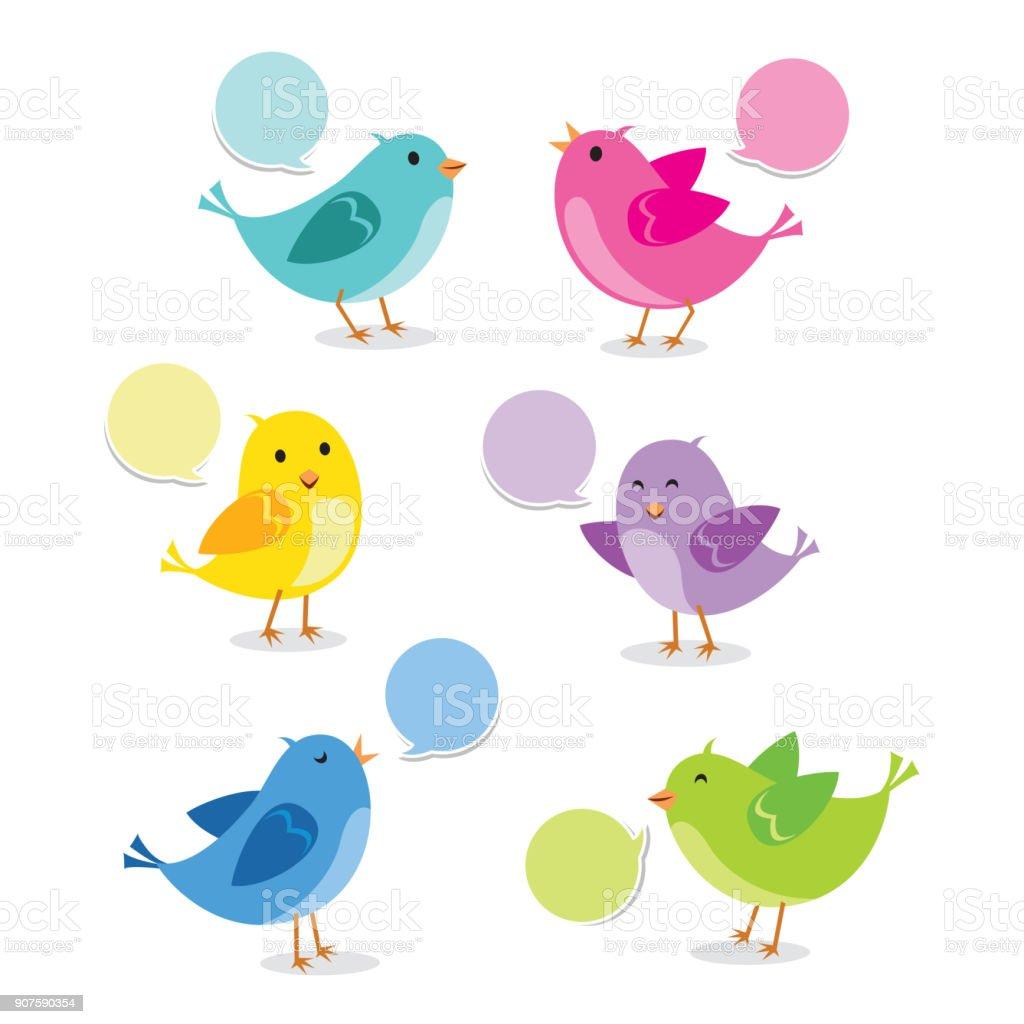 Cute bird collection - Grafika wektorowa royalty-free (Bez ludzi)