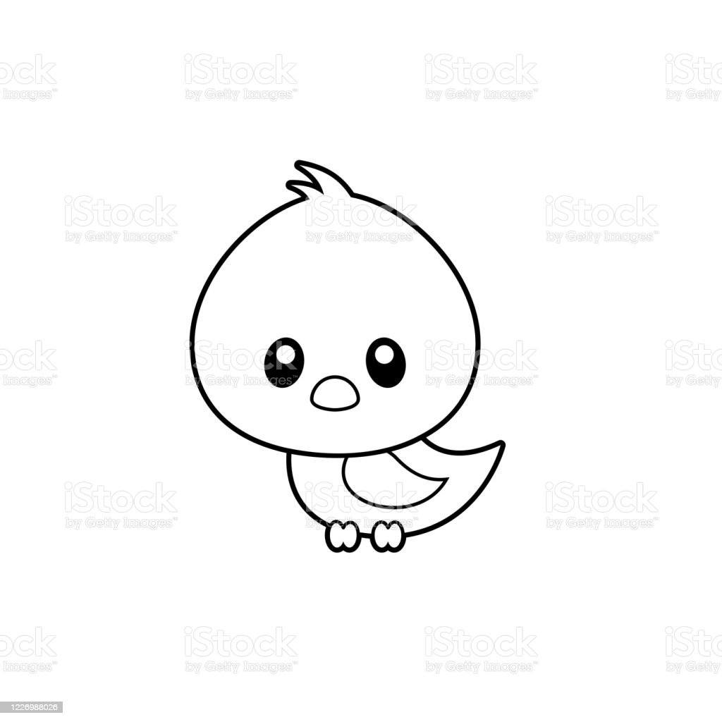 Cute Bird Coloring Page Vector Illustration On White Stock Illustration Download Image Now Istock