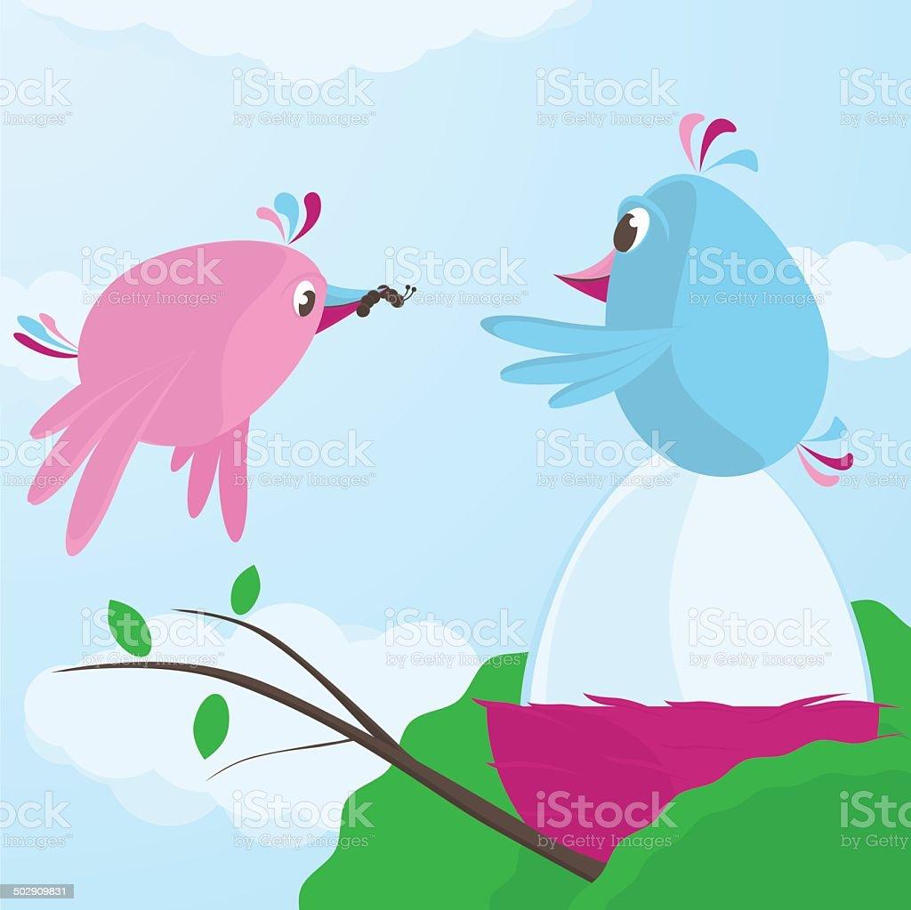 Cute bird feeding her mate as he incubates the egg royalty-free stock vector art