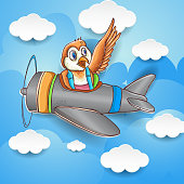 cute bird flying around the sky with plane, wallpaper, kids t shirt design, vector cartoon illustration