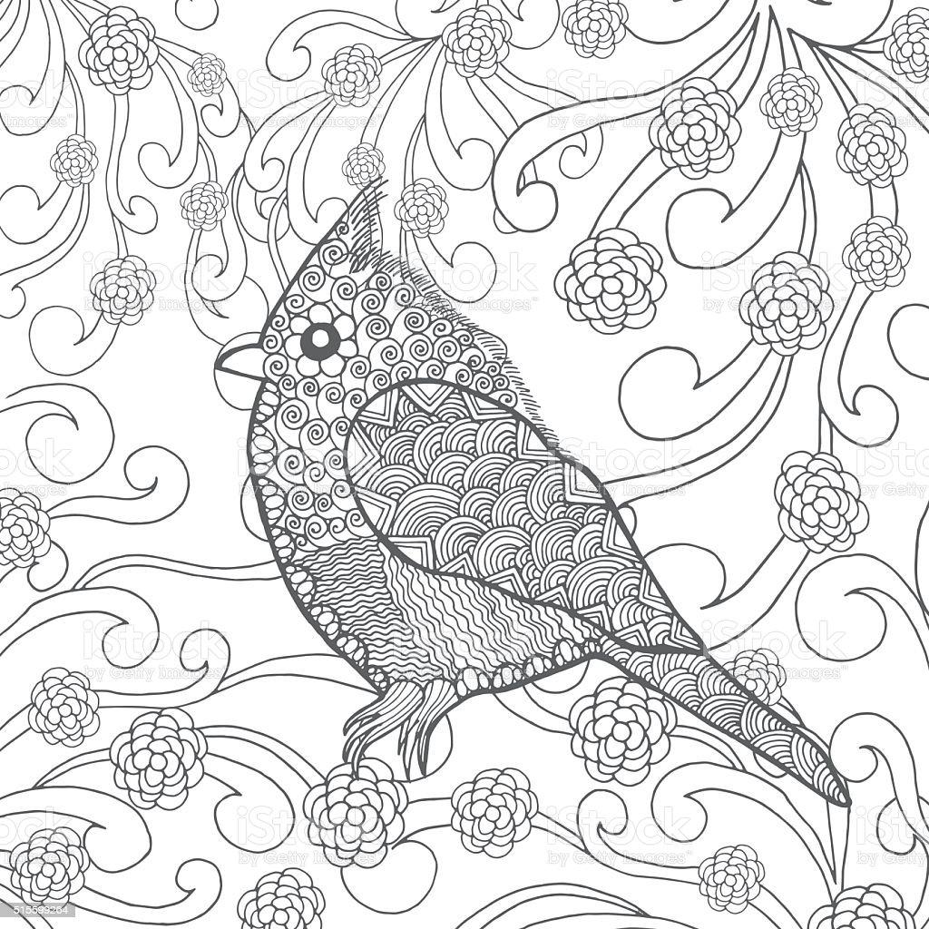 Flower garden sketch - Cute Bird In Fantasy Flower Garden Royalty Free Stock Vector Art
