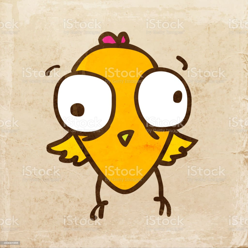 Cute Bird on Grunge Background royalty-free stock vector art