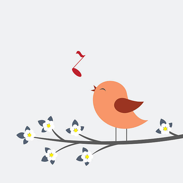 Cute bird sings Cute bird sings in Spring. animal call stock illustrations