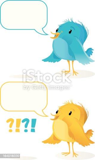 istock cute Bird with Speechballoon (cyan/yellow). 164018220