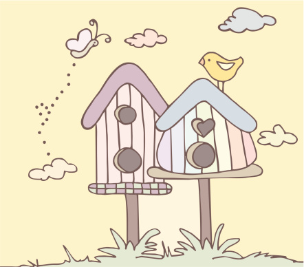 Cute birdhouses with bird and butterfly