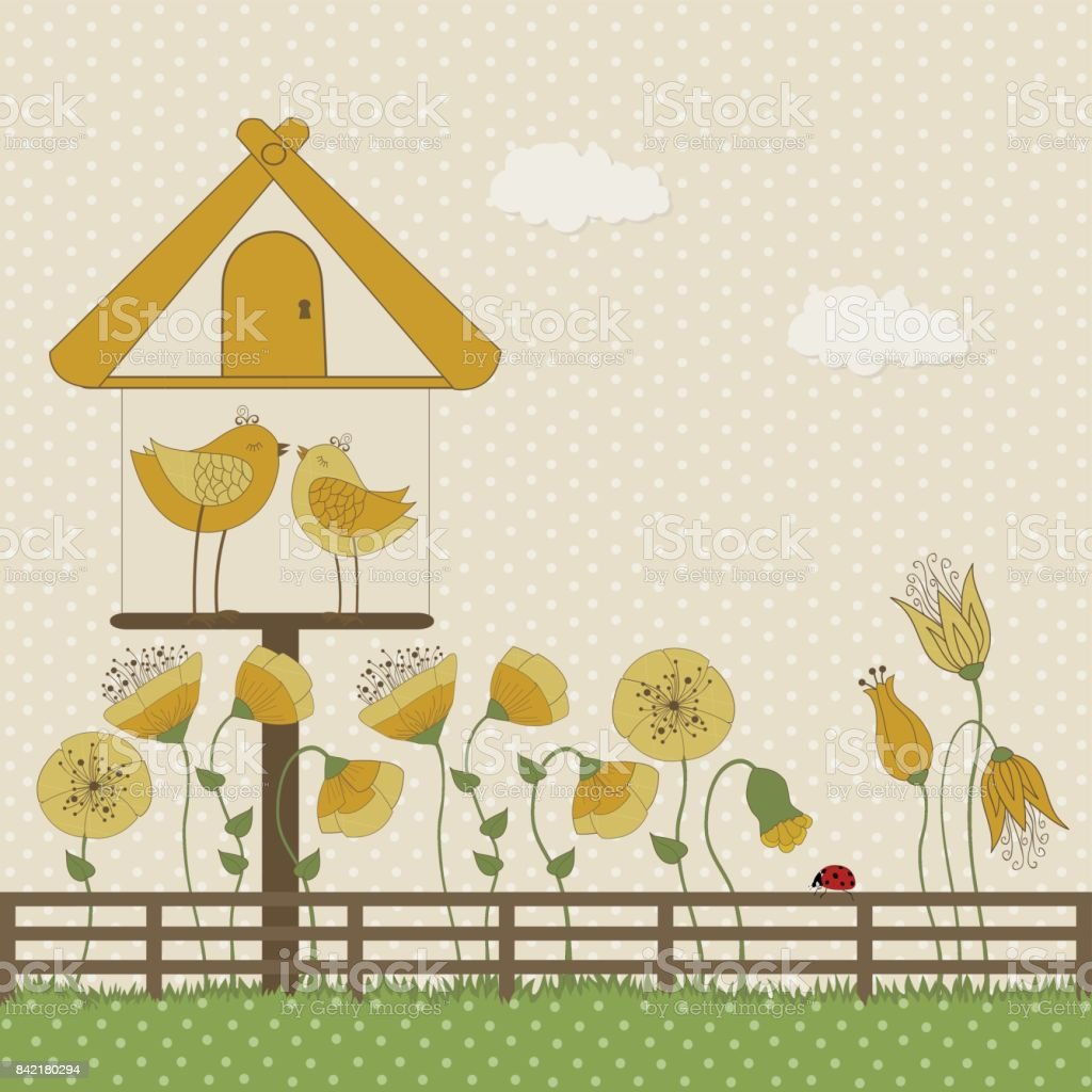 かわいい鳥と黄色い花を持つ巣箱 イラストレーションのベクター