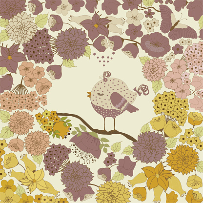 Cute Birds And Spring Flowers Stock Vector Art & More Images of Abstract