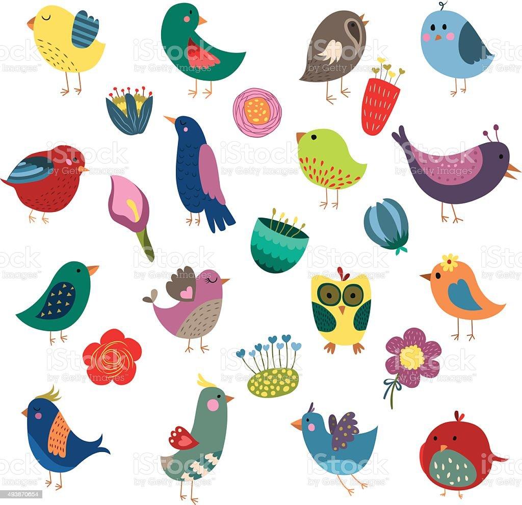 かわいい鳥と花のビンテージベクトルのセット のイラスト素材