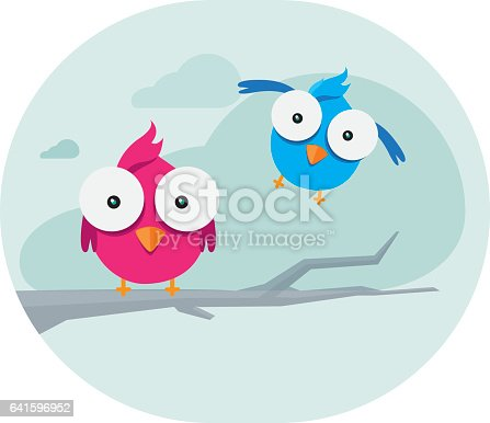 Illustration of Two Birds on The Blue Clouds. Birds looking at the screen.