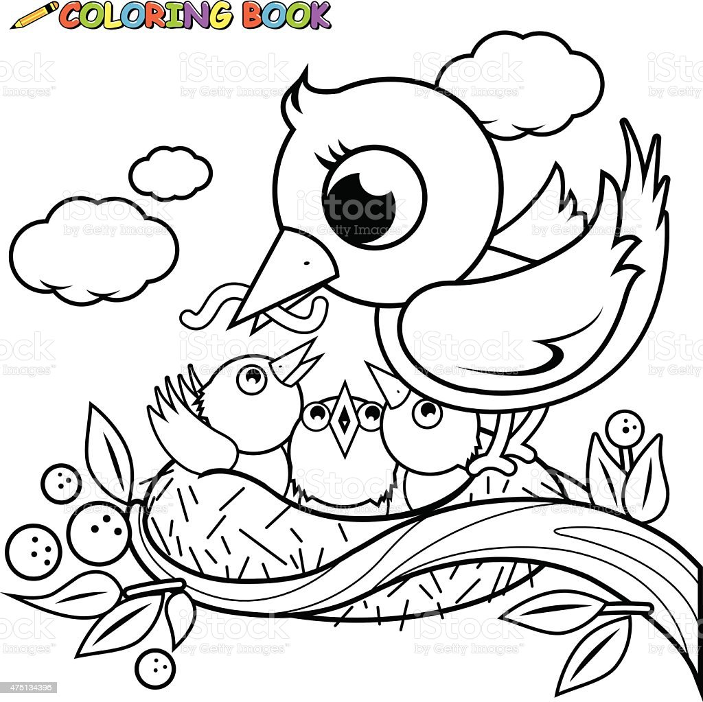 Cute Birds In The Nest Coloring Book Page Royalty Free