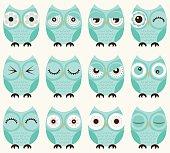 cute birds owls set