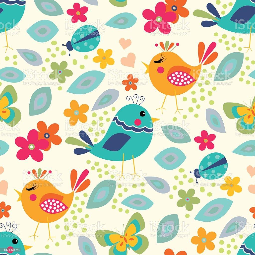 Cute birds seamless pattern