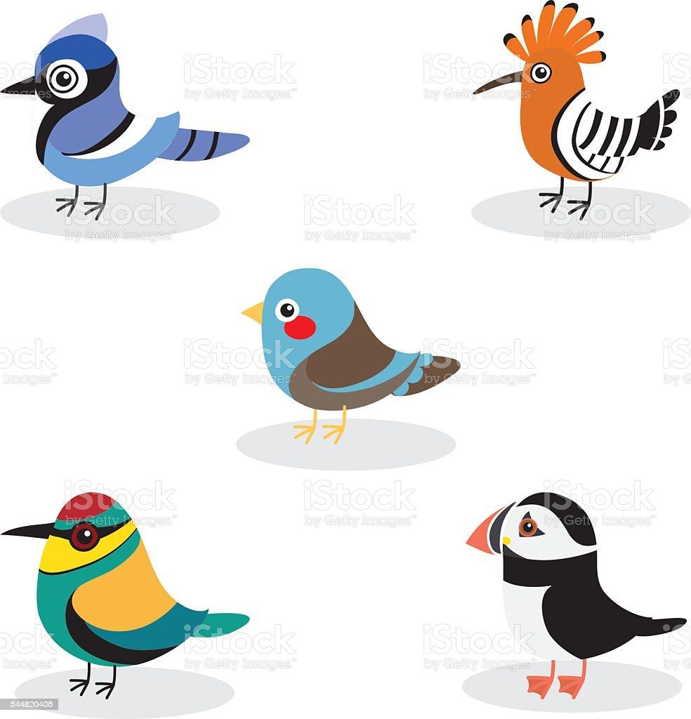 cute birds vector collection vector art illustration