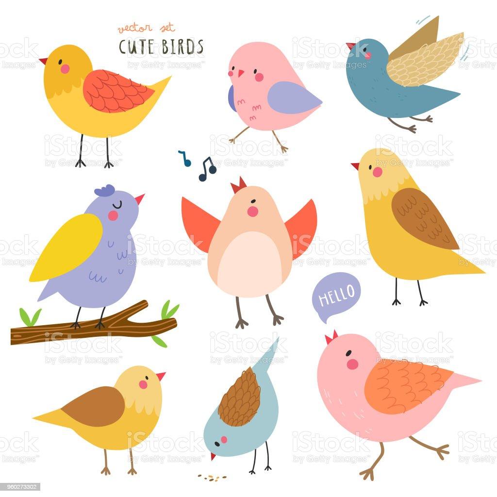 Cute Birds Vector Set Stock Illustration