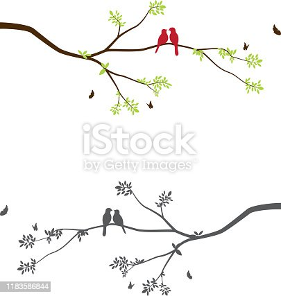 istock Cute birds with tree branch 1183586844