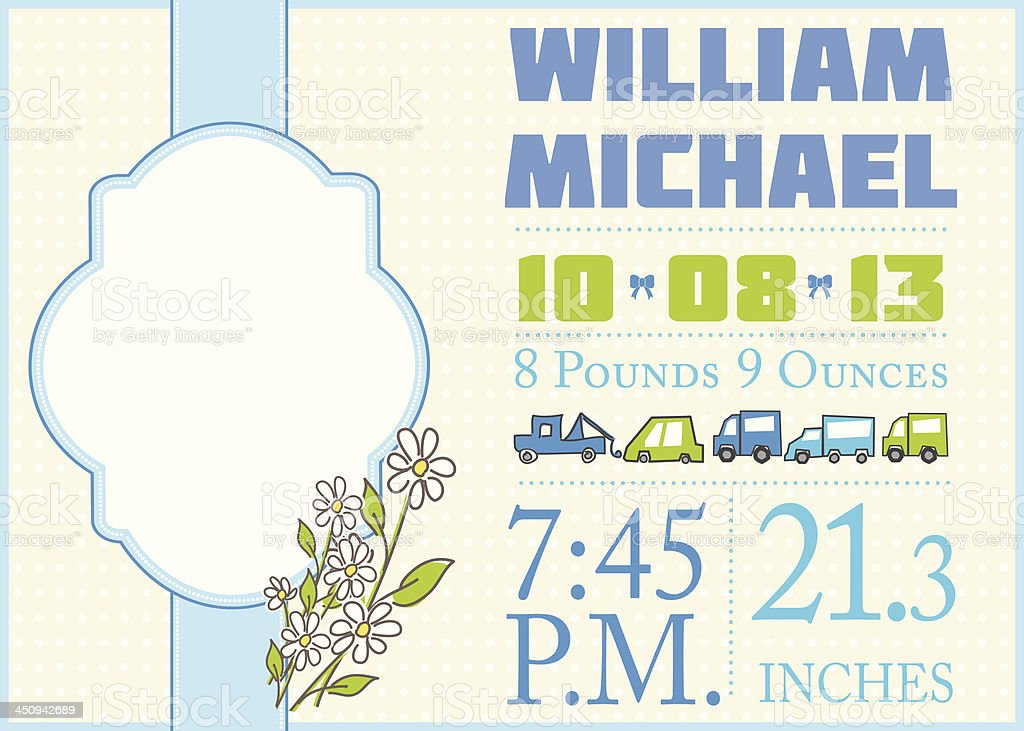 Cute Birth Announcement Template - Boy vector art illustration
