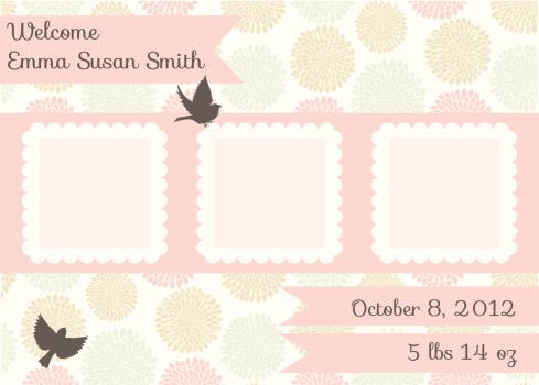 Cute Birth Announcement Template - Girl