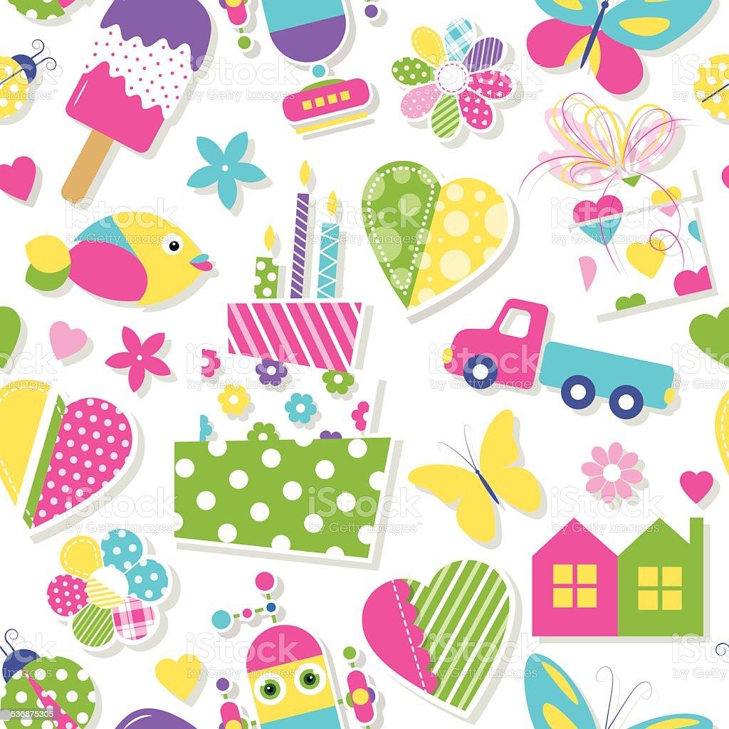 かわいいバースデーケーキ心花や動物のパターンおもちゃ のイラスト