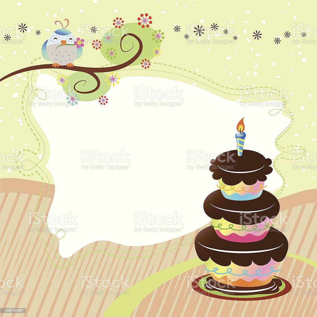 Tremendous Cute Birthday Card With Bird And Cake Stock Illustration Personalised Birthday Cards Akebfashionlily Jamesorg