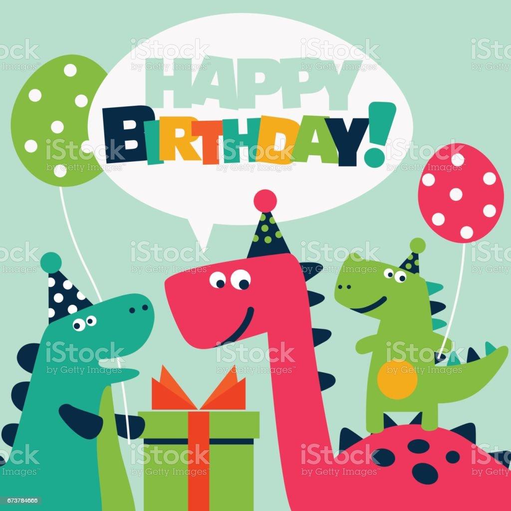 Cartão de aniversário bonito com dinossauros e balões - ilustração de arte em vetor