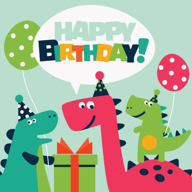 cute birthday card with dinosaurs and balloons - dinosaur stock illustrations, clip art, cartoons, & icons