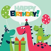Cute birthday card with dinosaurs and balloons