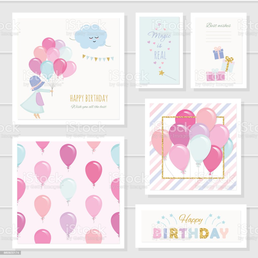 Cute birthday cards for girls with glitter elements. Included seamless pattern with colorful balloons. Watercolor. vector art illustration