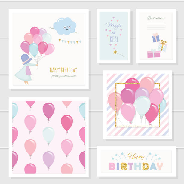 Cute birthday cards for girls with glitter elements. Included seamless pattern with colorful balloons. Watercolor. Cute birthday cards for girls with glitter elements. Included seamless pattern with colorful balloons. Watercolor. Vector baby girls stock illustrations