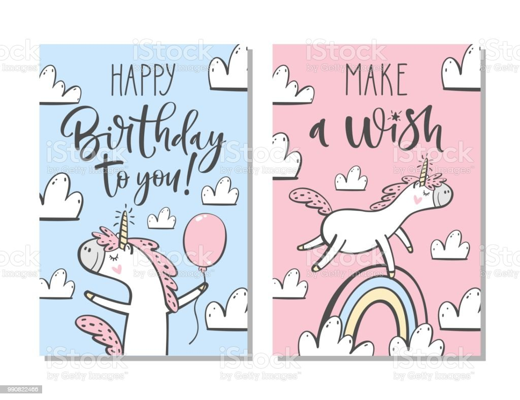 Cute Birthday Cards With Unicorn Rainbow Clouds And Hand Written Text Royalty
