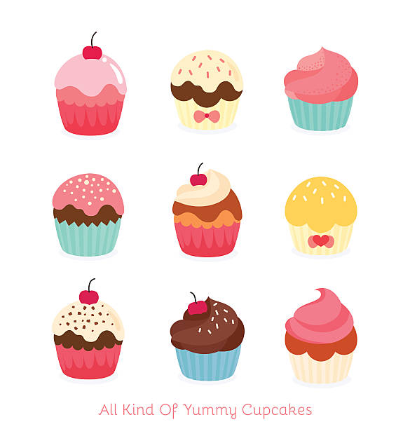 Cute birthday cupcakes Nine flat cupcake illustration cake drawings stock illustrations