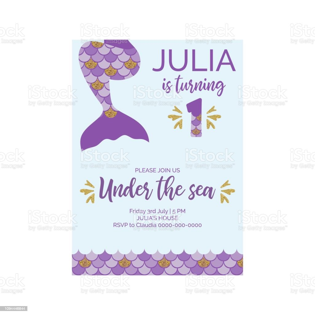 Cute Birthday Invitation For Little Mermaid Party First Vector Illustration Royalty