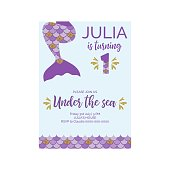 Cute Birthday Invitation For Little Mermaid Party First Vector Illustration
