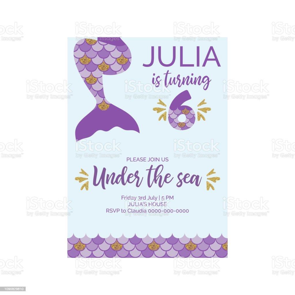 Cute birthday invitation for little mermaid birthday party. Mermaid...