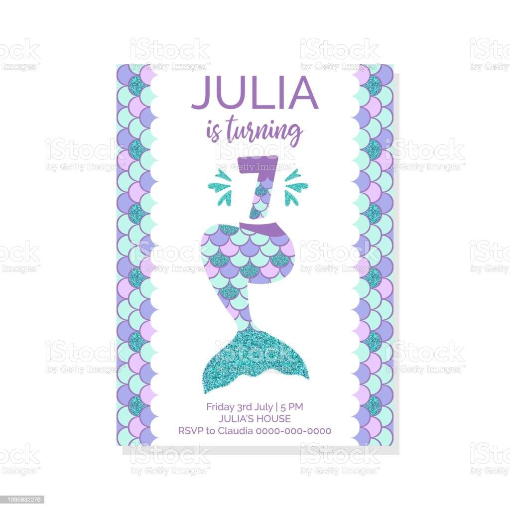 Cute Birthday Invitation For Little Mermaid Party Seventh Vector Illustration