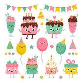 Cartoon illustrations of smiling characters: cake, cupcake, present, baloon, milkshake.