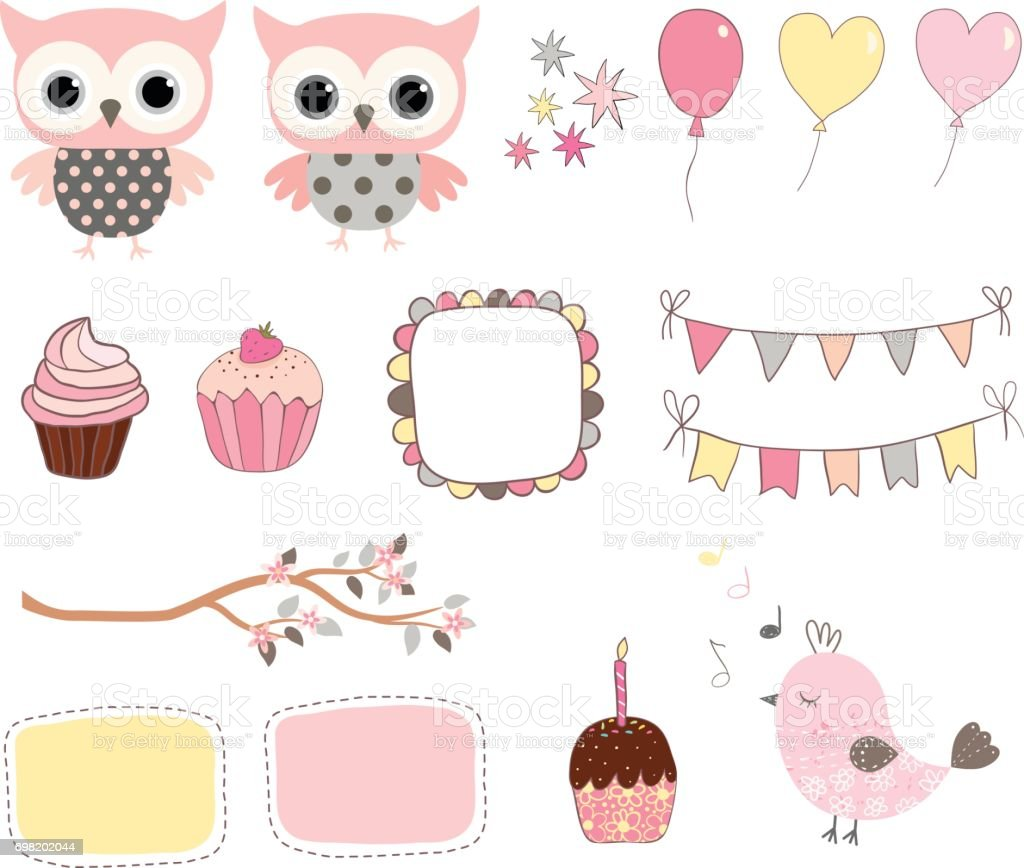 The set of high quality hand painted watercolor Birthday party elements. A  Bunny, cake, cupcake… | Birthday clipart, Birthday cake illustration,  Watercolor birthday