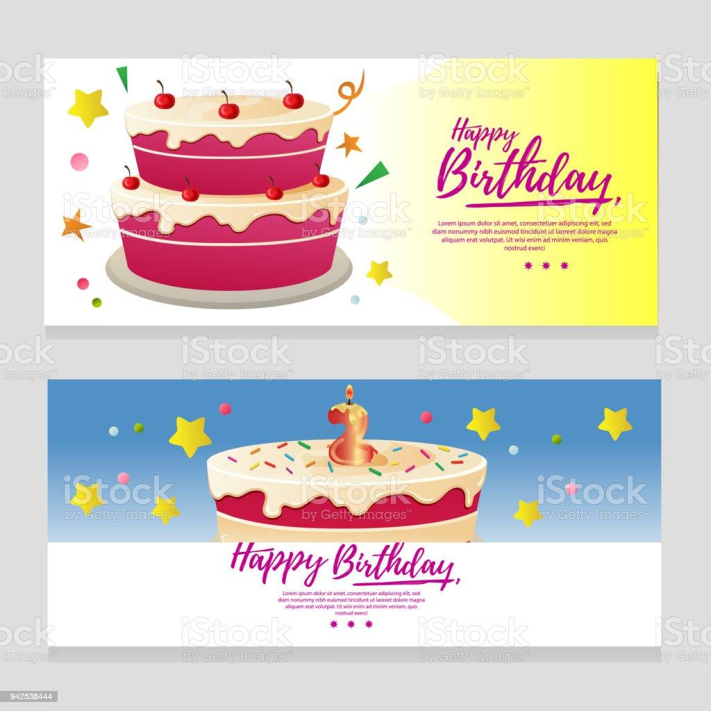 パーティー ケーキとかわいい誕生日テーマ バナー - お祝いのベクター