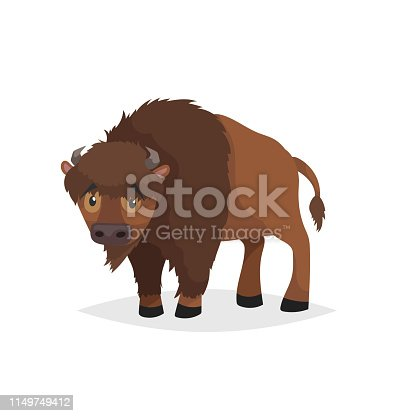 Cute bison standing. Cartoon comic style vector illustration of forest wild animal. Buffalo. Europe and north America animal. EPS10 + JPEG preview.