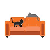 Cute black and grey cats sitting on an orange sofa, home pet resting cartoon vector Illustration