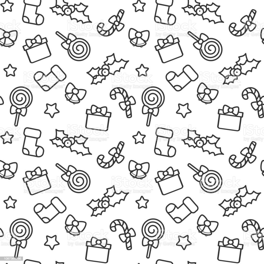 cute black and white cartoon christmas elements seamless vector pattern background illustration vector art illustration