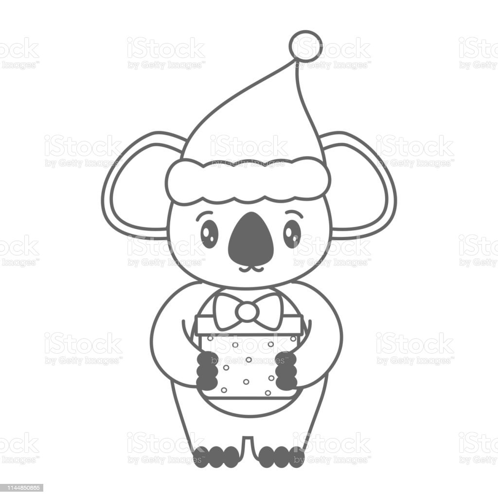 Koala De Dessin Animé Noir Et Blanc Mignon Avec Chapeau De